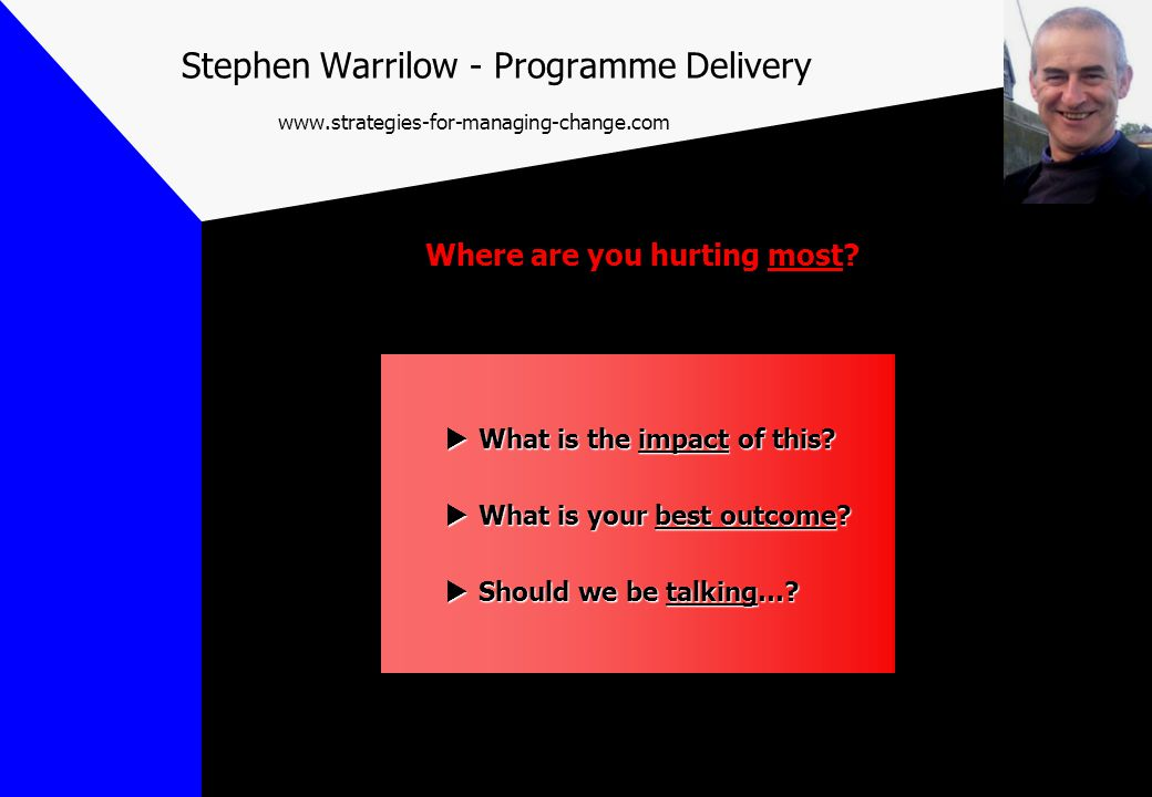  What is the impact of this?  What is your best outcome?  Should we be talking…? Where are you hurting most? Stephen Warrilow - Programme Delivery