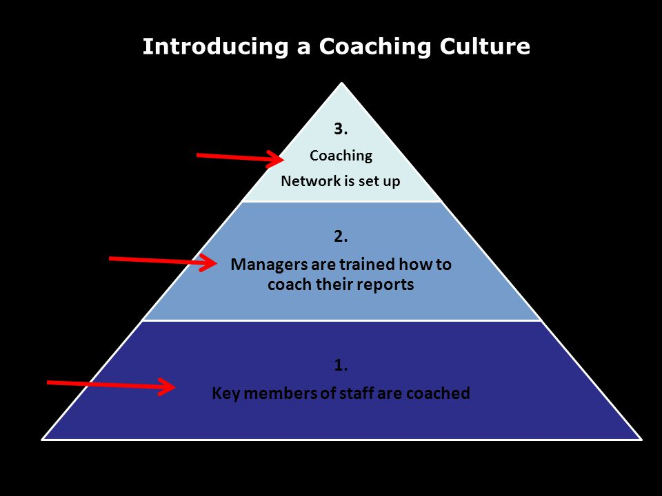 Introducing a Coaching Culture 3. Coaching Network is set up 2. Managers are trained how to coach their reports 1. Key members of staff are coached