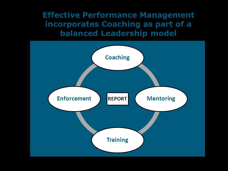 Effective Performance Management incorporates Coaching as part of a balanced Leadership model REPORT CoachingMentoringTrainingEnforcement - -