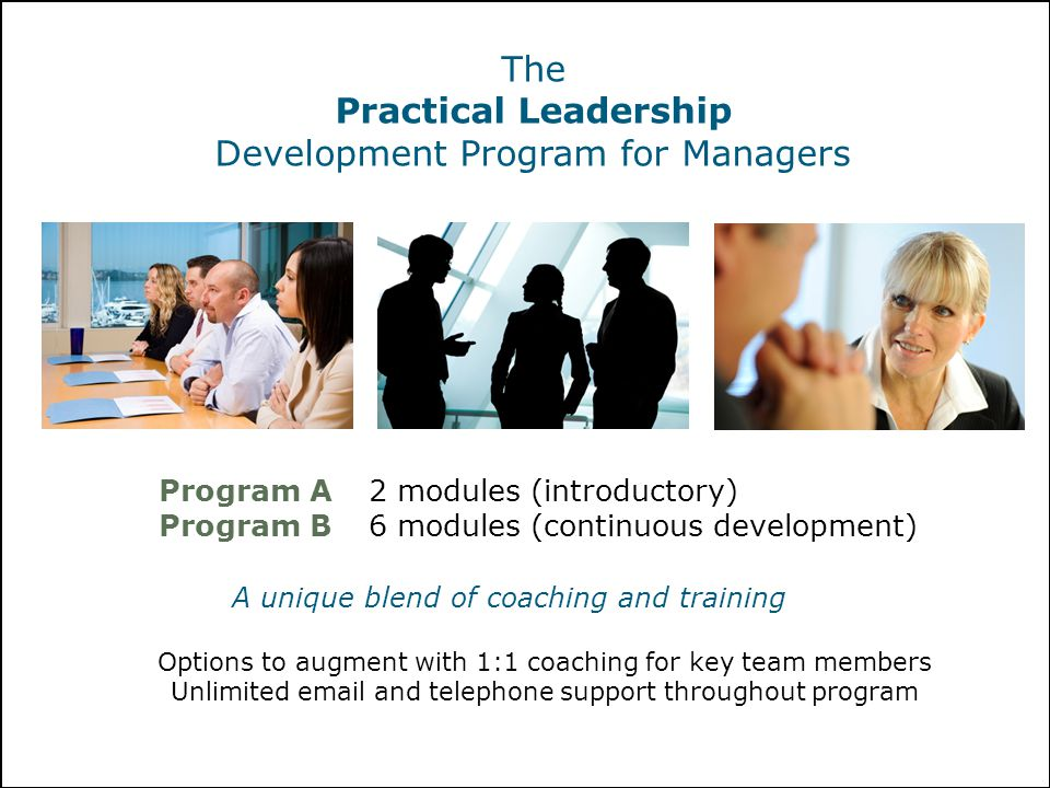 The Practical Leadership Development Program for Managers Program A2 modules (introductory) Program B6 modules (continuous development) Options to aug