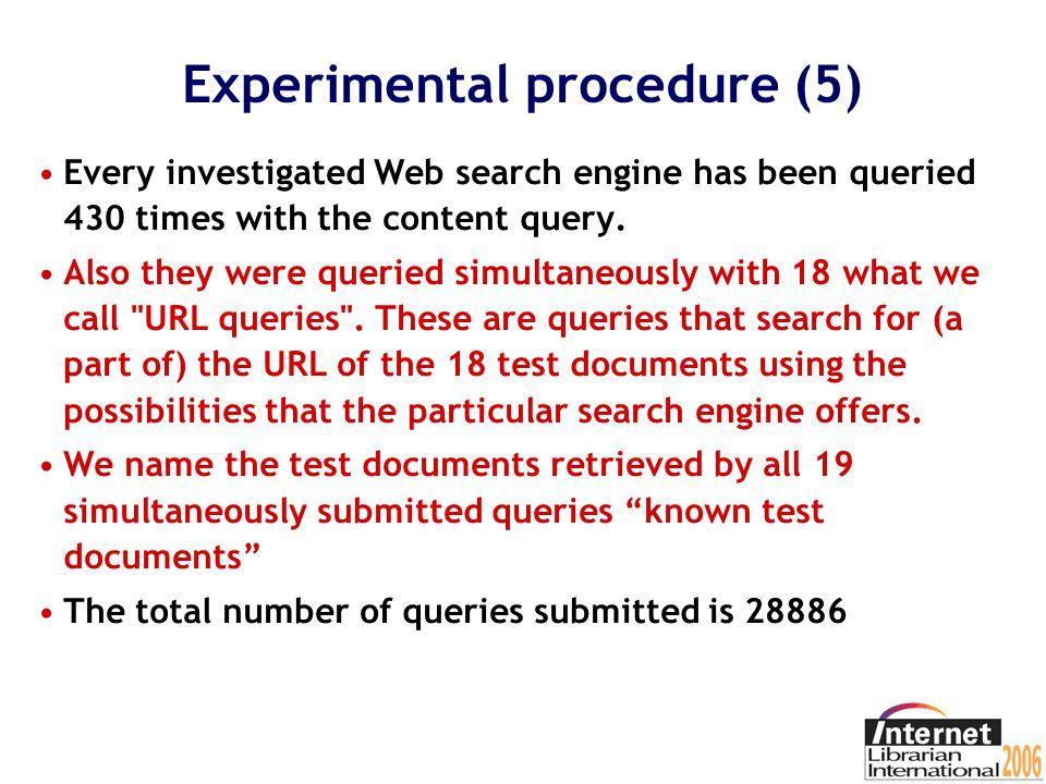 Experimental procedure (4) We investigated Alltheweb, AltaVista, AskJeeves, Google, Lycos, MSN, Teoma and Yahoo.