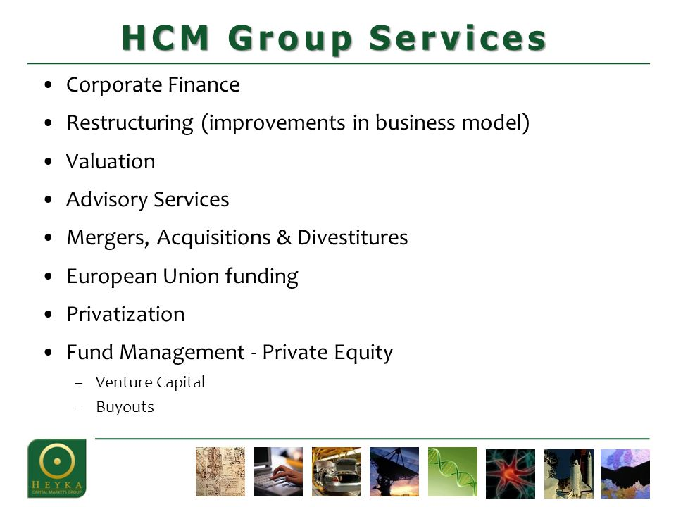 Corporate Finance Restructuring (improvements in business model) Valuation Advisory Services Mergers, Acquisitions & Divestitures European Union funding Privatization Fund Management - Private Equity –Venture Capital –Buyouts HCM Group Services