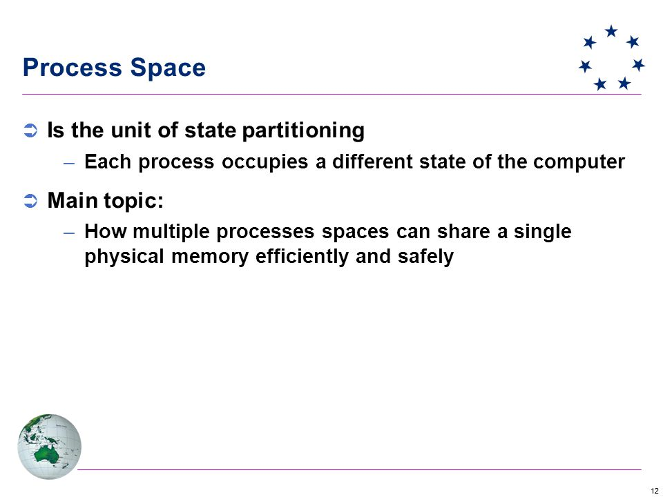 12 Process Space  Is the unit of state partitioning –Each process occupies a different state of the computer  Main topic: –How multiple processes spaces can share a single physical memory efficiently and safely