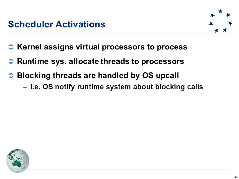 33 Scheduler Activations  Kernel assigns virtual processors to process  Runtime sys.