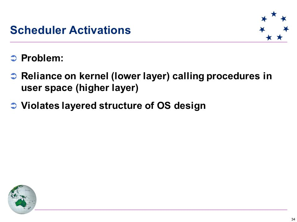 34 Scheduler Activations  Problem:  Reliance on kernel (lower layer) calling procedures in user space (higher layer)  Violates layered structure of OS design