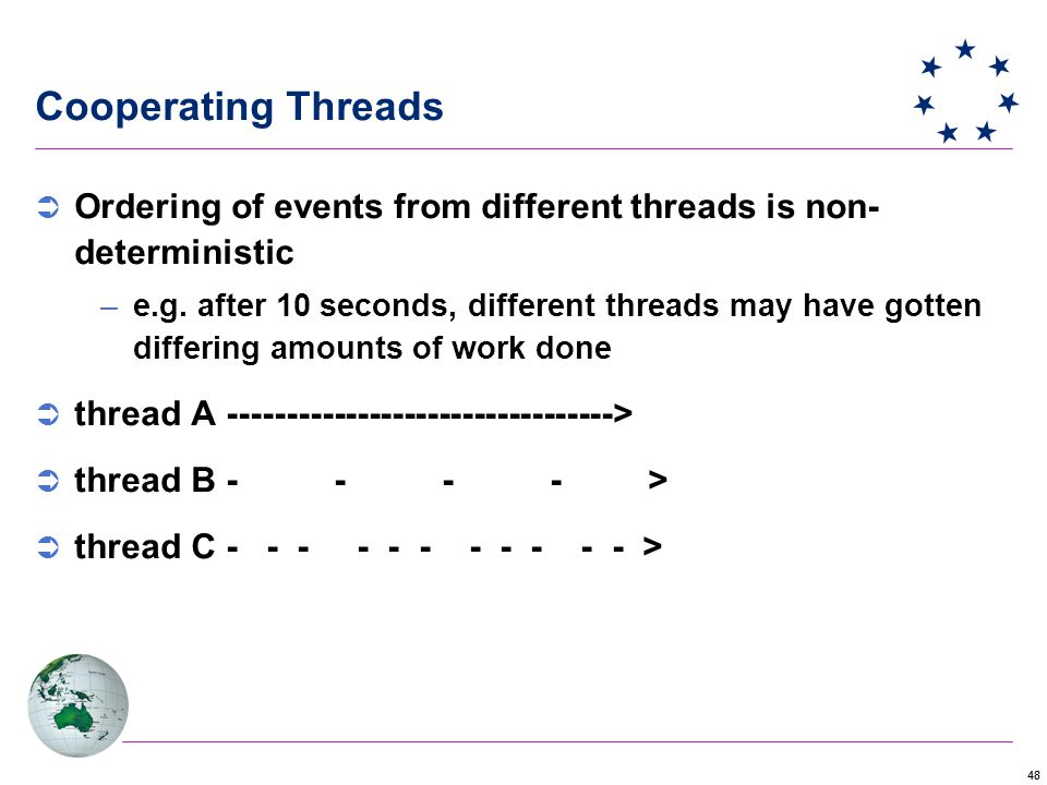 48 Cooperating Threads  Ordering of events from different threads is non- deterministic –e.g.