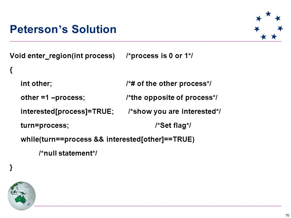 70 Peterson ' s Solution Void enter_region(int process)/*process is 0 or 1*/ { int other;/*# of the other process*/ other =1 –process;/*the opposite of process*/ interested[process]=TRUE; /*show you are interested*/ turn=process;/*Set flag*/ while(turn==process && interested[other]==TRUE) /*null statement*/ }