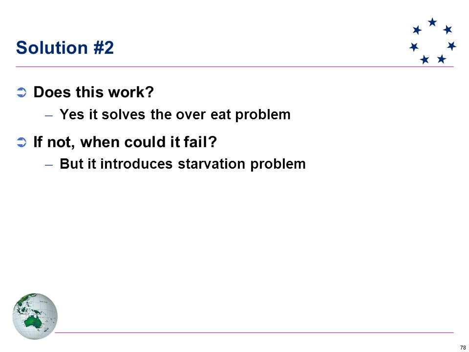 78 Solution #2  Does this work. –Yes it solves the over eat problem  If not, when could it fail.