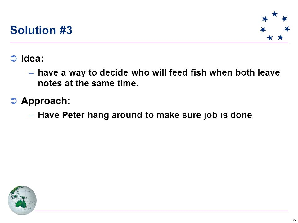 79 Solution #3  Idea: –have a way to decide who will feed fish when both leave notes at the same time.