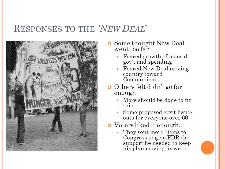 R ESPONSES TO THE 'N EW D EAL ' Some thought New Deal went too far Feared growth of federal gov't and spending Feared New Deal moving country toward Communism Others felt didn't go far enough More should be done to fix this Some proposed gov't hand- outs for everyone over 60 Voters liked it enough… They sent more Dems to Congress to give FDR the support he needed to keep his plan moving forward