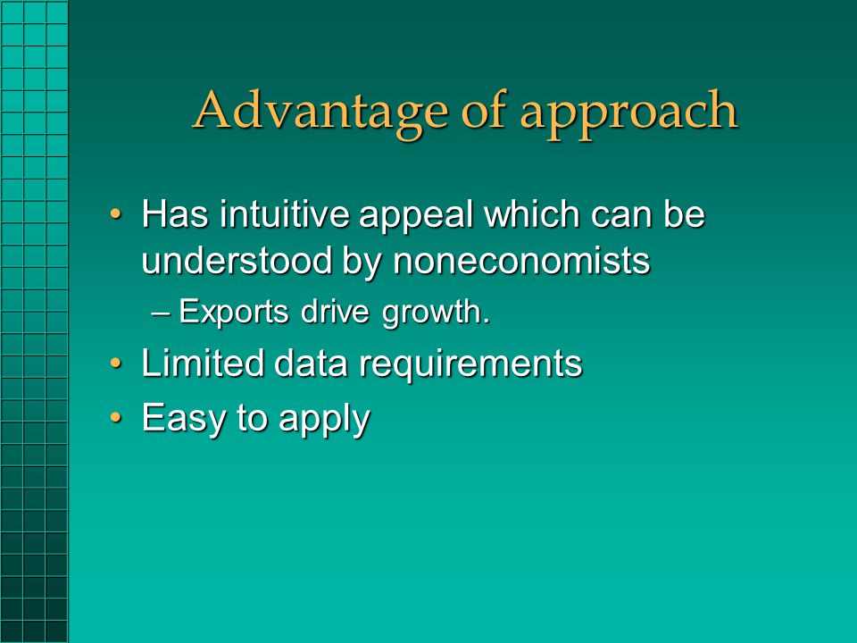 Advantage of approach Has intuitive appeal which can be understood by noneconomistsHas intuitive appeal which can be understood by noneconomists –Exports drive growth.