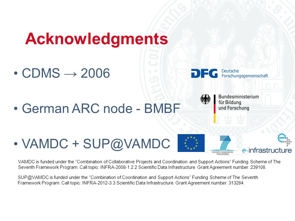 Christian Endres, Universität zu Köln 69 th ISMS, Urbana-Champaign, 2014 CDMS → 2006 German ARC node - BMBF VAMDC + SUP@VAMDC Acknowledgments SUP@VAMDC is funded under the Combination of Coordination and Support Actions Funding Scheme of The Seventh Framework Program.
