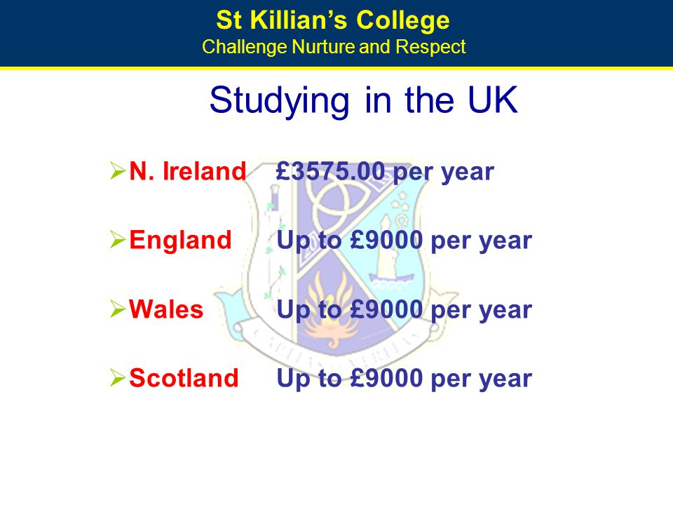 St Killian's College Challenge Nurture and Respect Studying in the UK  N. Ireland£3575.00 per year  EnglandUp to £9000 per year  WalesUp to £9000 p