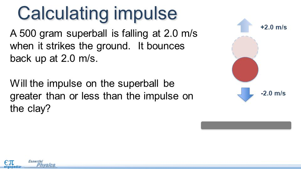-2.0 m/s Calculating impulse A 500 gram superball is falling at 2.0 m/s when it strikes the ground.