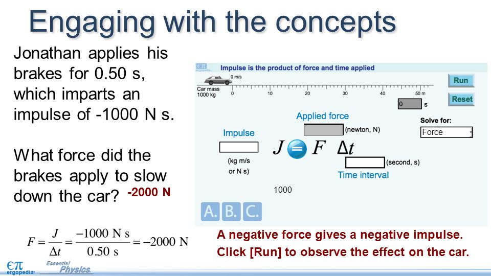 Engaging with the concepts Force 1000 A negative force gives a negative impulse.