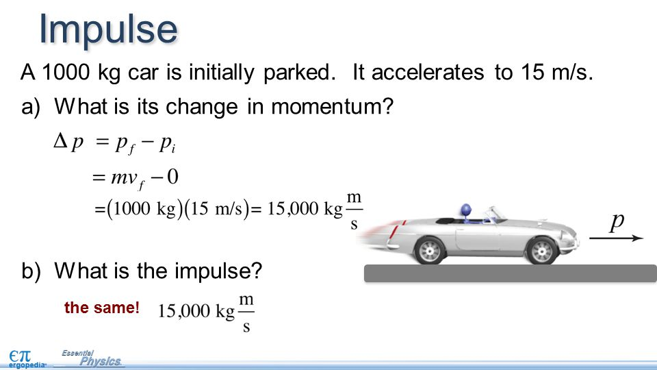 a) What is its change in momentum. b) What is the impulse.