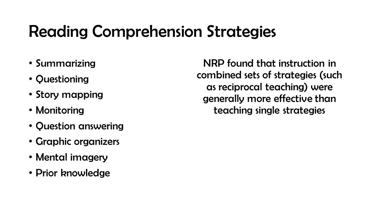 Reading Comprehension Strategies Summarizing Questioning Story mapping Monitoring Question answering Graphic organizers Mental imagery Prior knowledge NRP found that instruction in combined sets of strategies (such as reciprocal teaching) were generally more effective than teaching single strategies