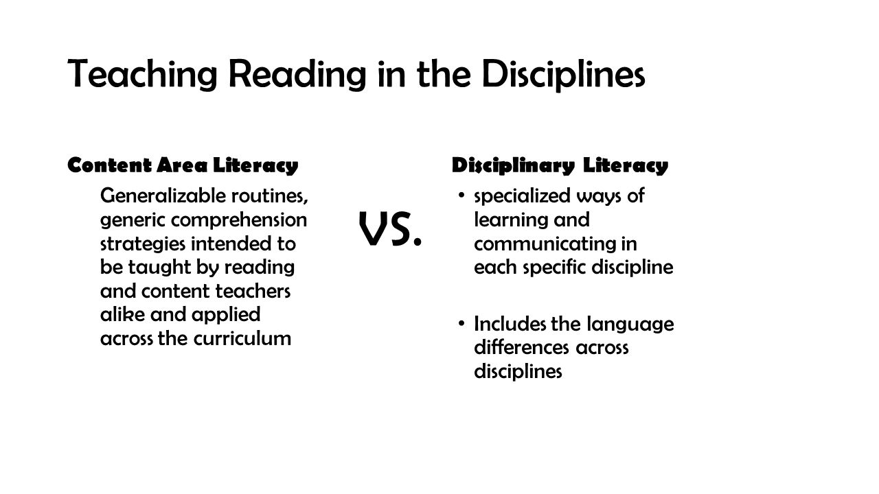Teaching Reading in the Disciplines Content Area Literacy Generalizable routines, generic comprehension strategies intended to be taught by reading an