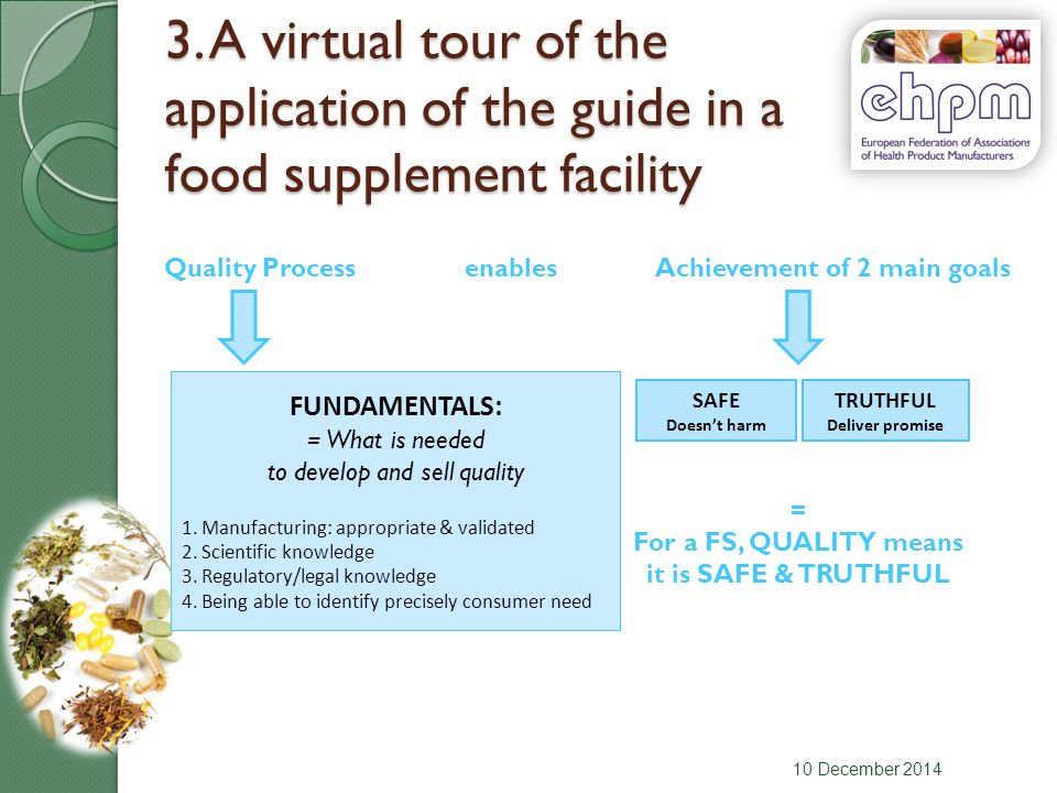 3. A virtual tour of the application of the guide in a food supplement facility 10 December 2014 Quality ProcessAchievement of 2 main goalsenables SAF