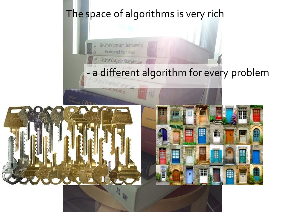 The space of algorithms is very rich - a different algorithm for every problem