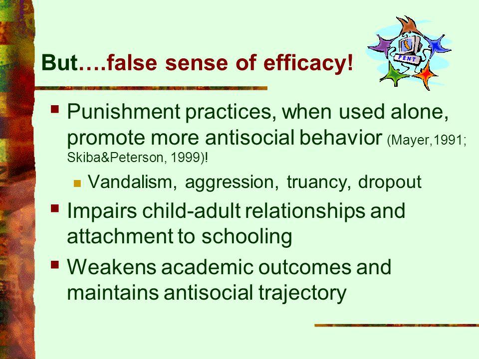 But….false sense of efficacy!  Punishment practices, when used alone, promote more antisocial behavior (Mayer,1991; Skiba&Peterson, 1999)! Vandalism,