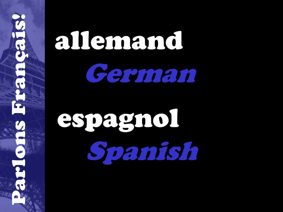 allemand German espagnol Spanish