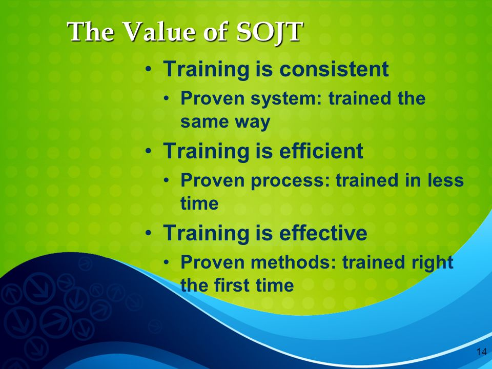 14 The Value of SOJT Training is consistent Proven system: trained the same way Training is efficient Proven process: trained in less time Training is effective Proven methods: trained right the first time