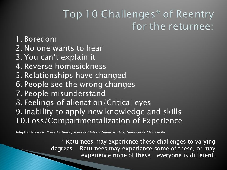 1.Boredom 2.No one wants to hear 3.You can't explain it 4.Reverse homesickness 5.Relationships have changed 6.People see the wrong changes 7.People misunderstand 8.Feelings of alienation/Critical eyes 9.Inability to apply new knowledge and skills 10.Loss/Compartmentalization of Experience Adapted from Dr.