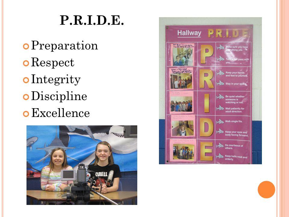 P.R.I.D.E. Preparation Respect Integrity Discipline Excellence