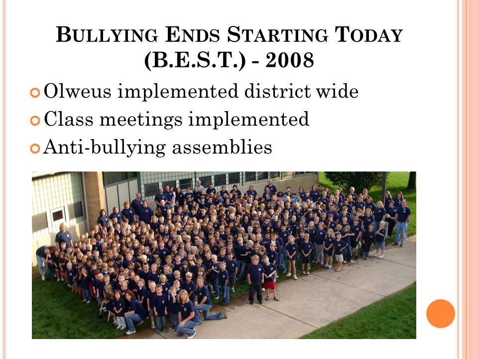 B ULLYING E NDS S TARTING T ODAY (B.E.S.T.) - 2008 Olweus implemented district wide Class meetings implemented Anti-bullying assemblies