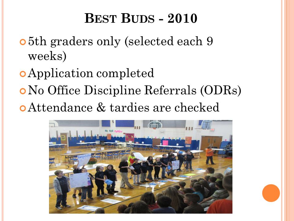 B EST B UDS - 2010 5th graders only (selected each 9 weeks) Application completed No Office Discipline Referrals (ODRs) Attendance & tardies are check