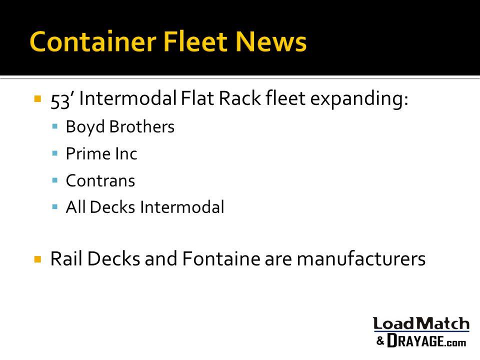  53' Intermodal Flat Rack fleet expanding:  Boyd Brothers  Prime Inc  Contrans  All Decks Intermodal  Rail Decks and Fontaine are manufacturers
