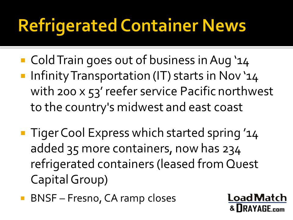  Cold Train goes out of business in Aug '14  Infinity Transportation (IT) starts in Nov '14 with 200 x 53' reefer service Pacific northwest to the c
