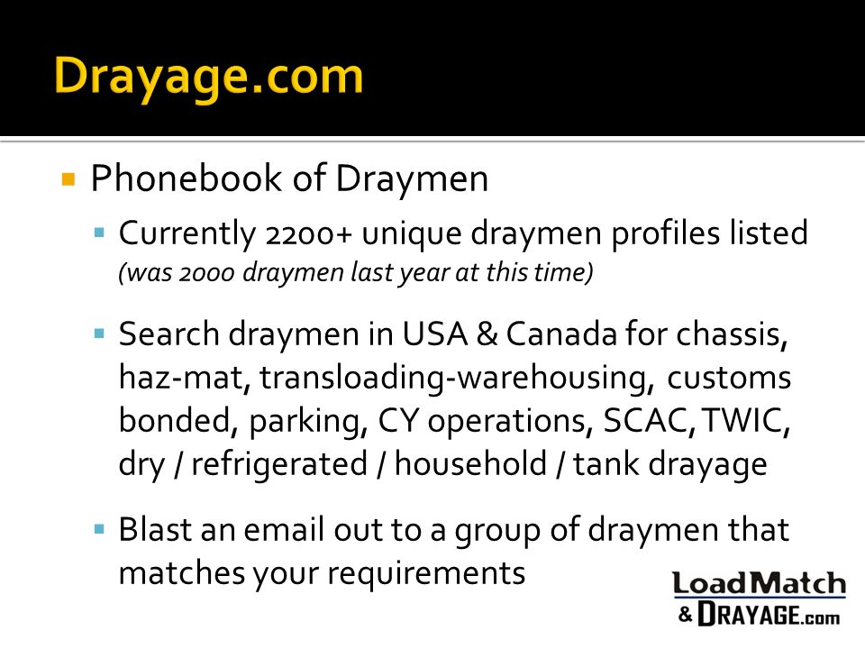  Phonebook of Draymen  Currently 2200+ unique draymen profiles listed (was 2000 draymen last year at this time)  Search draymen in USA & Canada for