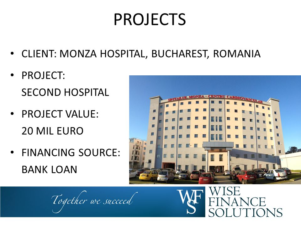 PROJECTS CLIENT: MONZA HOSPITAL, BUCHAREST, ROMANIA PROJECT: SECOND HOSPITAL PROJECT VALUE: 20 MIL EURO FINANCING SOURCE: BANK LOAN