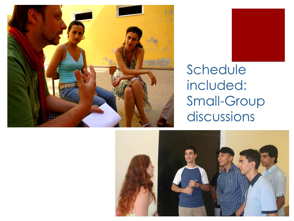 Schedule included: Small-Group discussions