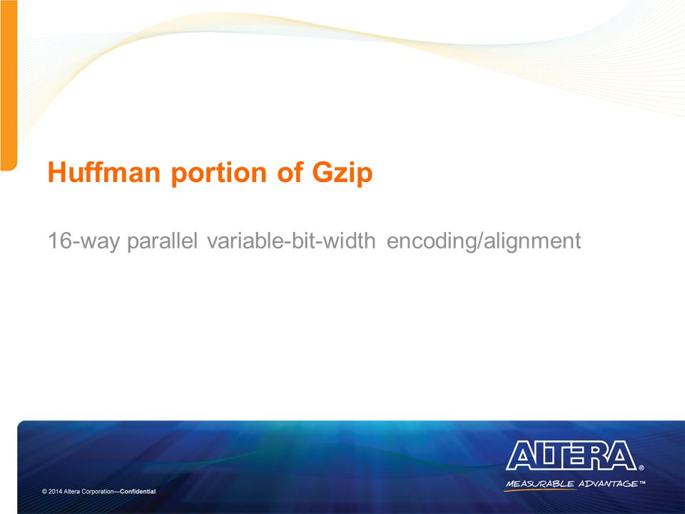 Huffman portion of Gzip 16-way parallel variable-bit-width encoding/alignment