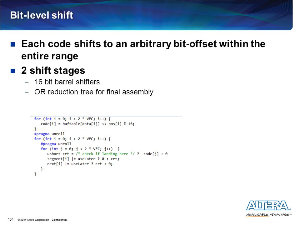 Bit-level shift Each code shifts to an arbitrary bit-offset within the entire range 2 shift stages  16 bit barrel shifters  OR reduction tree for fi