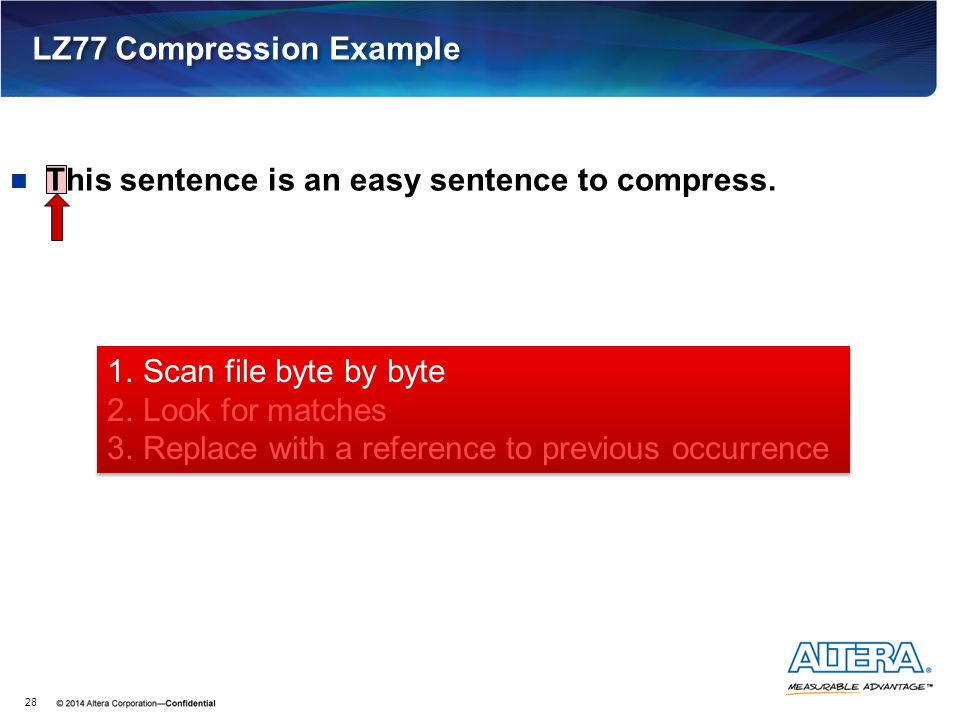 LZ77 Compression Example 28 This sentence is an easy sentence to compress. 1.Scan file byte by byte 2.Look for matches 3.Replace with a reference to p
