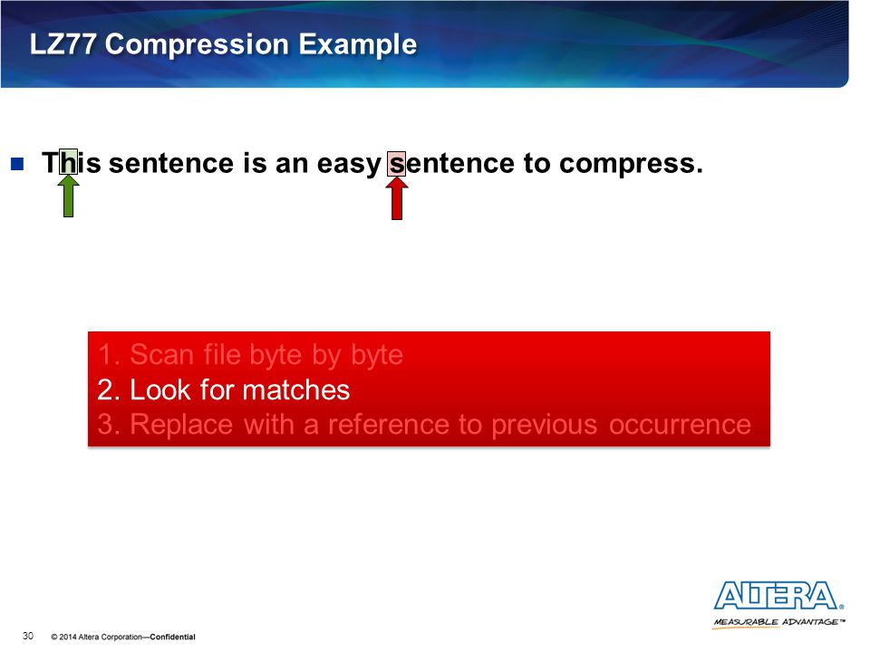 LZ77 Compression Example 30 This sentence is an easy sentence to compress. 1.Scan file byte by byte 2.Look for matches 3.Replace with a reference to p