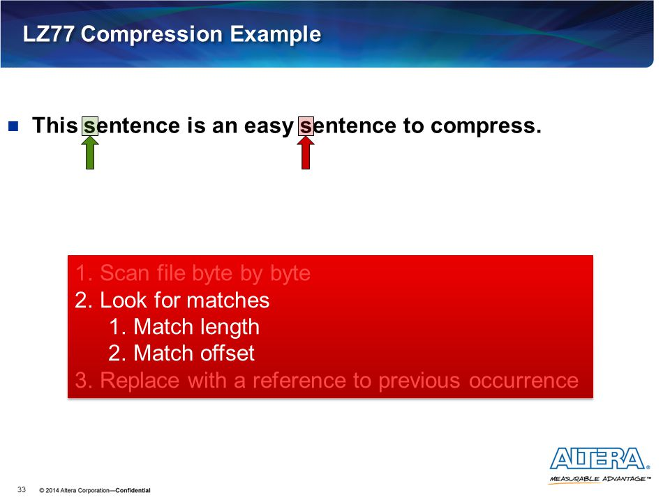 This sentence is an easy sentence to compress. LZ77 Compression Example 33 1.Scan file byte by byte 2.Look for matches 1.Match length 2.Match offset 3