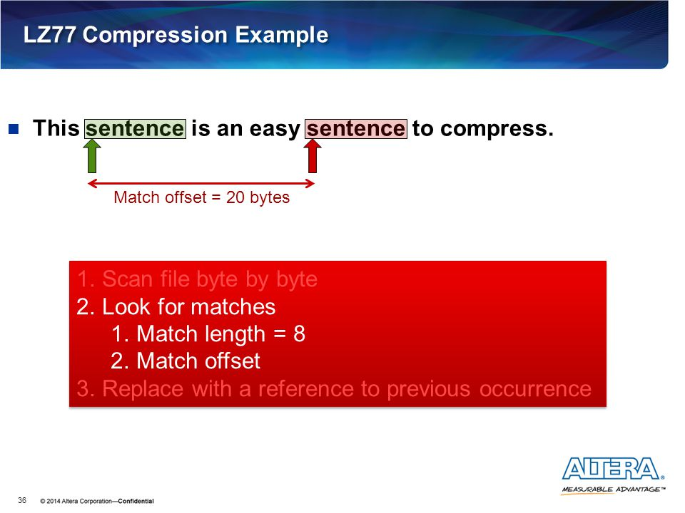 This sentence is an easy sentence to compress. LZ77 Compression Example 36 1.Scan file byte by byte 2.Look for matches 1.Match length = 8 2.Match offs