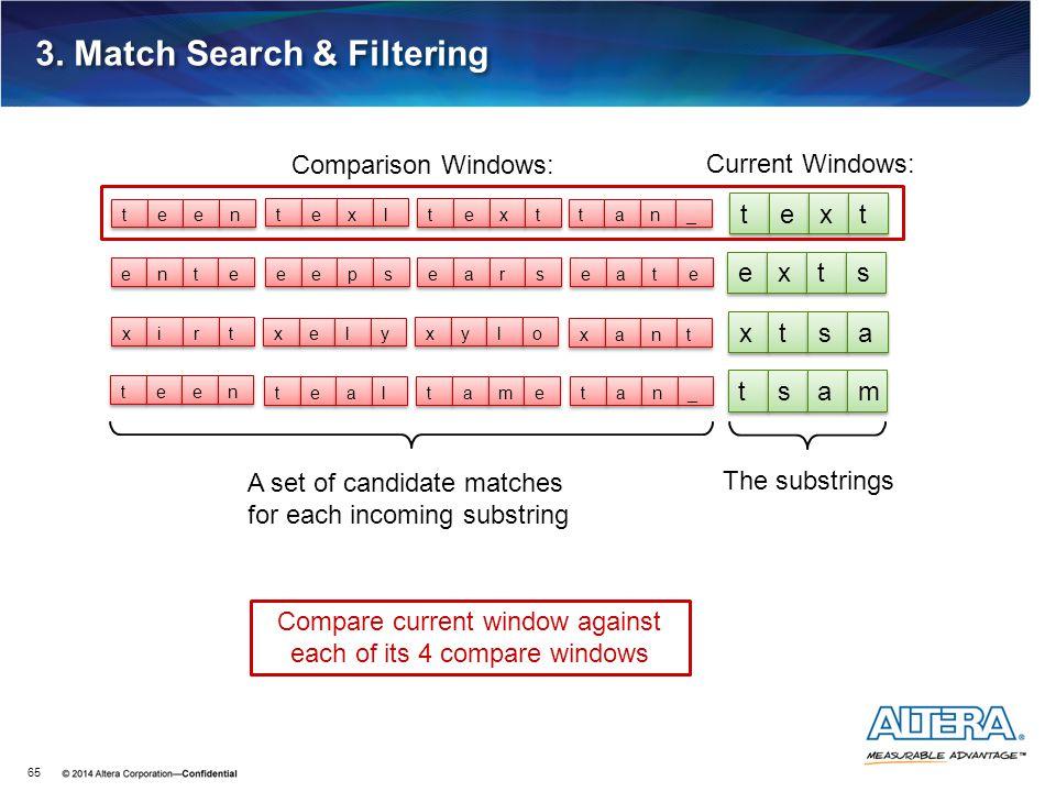 3. Match Search & Filtering 65 Current Windows: t t e e x x t t e e x x t t s s x x t t s s a a t t s s a a m m t t a a n n _ _ t t e e x x t t t t e