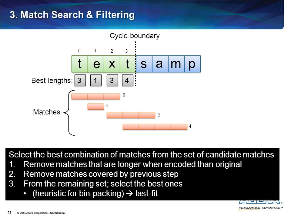 3. Match Search & Filtering 73 3 3 t e x t s a mp Cycle boundary 1 1 3 3 4 4 Matches 0 1 2 4 0 1 23 Select the best combination of matches from the se