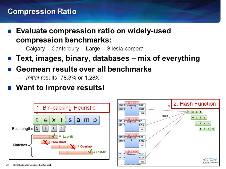 Compression Ratio Evaluate compression ratio on widely-used compression benchmarks:  Calgary – Canterbury – Large – Silesia corpora Text, images, bin