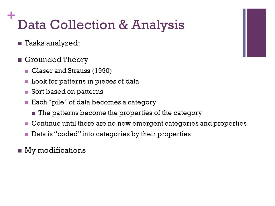 + Data Collection & Analysis Tasks analyzed: Grounded Theory Glaser and Strauss (1990) Look for patterns in pieces of data Sort based on patterns Each pile of data becomes a category The patterns become the properties of the category Continue until there are no new emergent categories and properties Data is coded into categories by their properties My modifications