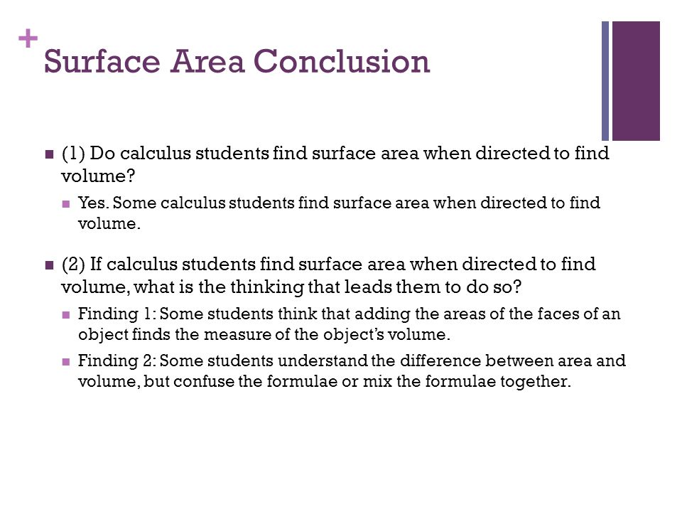 + Surface Area Conclusion (1) Do calculus students find surface area when directed to find volume.