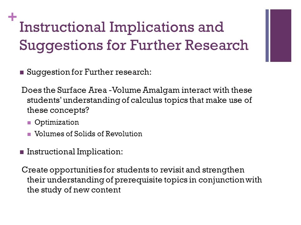 + Instructional Implications and Suggestions for Further Research Suggestion for Further research: Does the Surface Area -Volume Amalgam interact with these students' understanding of calculus topics that make use of these concepts.