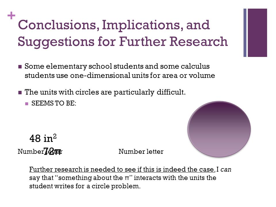 + Conclusions, Implications, and Suggestions for Further Research Some elementary school students and some calculus students use one-dimensional units for area or volume The units with circles are particularly difficult.