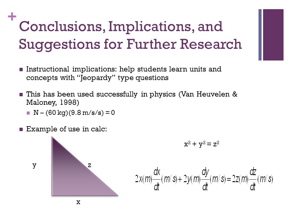 + Conclusions, Implications, and Suggestions for Further Research Instructional implications: help students learn units and concepts with Jeopardy type questions This has been used successfully in physics (Van Heuvelen & Maloney, 1998) N – (60 kg)(9.8 m/s/s) = 0 Example of use in calc: y x z x 2 + y 2 = z 2